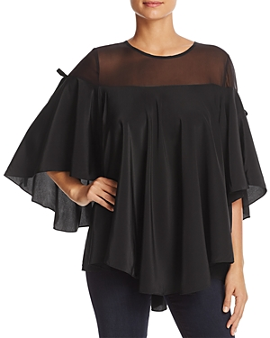 Badgley Mischka Silk Georgette Flutter Top