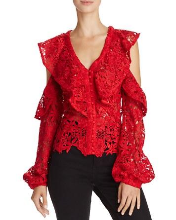 $Bardot Valentina Cold-Shoulder Lace Top - Bloomingdale's