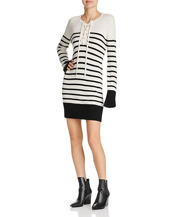 Joie - Heltan Striped Lace-Up Wool & Cashmere Dress