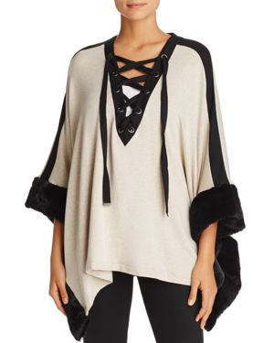 Capote Faux-Fur Trimmed Lace-Up Poncho