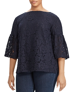 Lauren Ralph Lauren Plus Lace Bell Sleeve Top