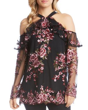 Karen Kane Floral Embroidered Cold Shoulder Ruffle Top