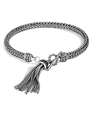 John Hardy Sterling Silver Classic Chain Tassel Bracelet with Black Sapphire & Black Spinel