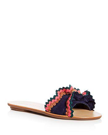 Loeffler Randall - Women's Birdie Suede Ruffle Slide Sandals - 100% Exclusive