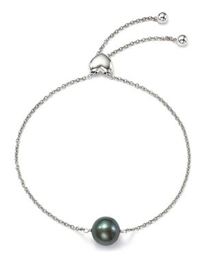 Bloomingdale's Dyed Black Cultured Freshwater Pearl Bolo Bracelet in 14K White Gold, 9mm - 100% Excl