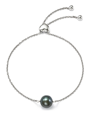 Bloomingdale's Dyed Black Cultured Freshwater Pearl Bolo Bracelet in 14K White Gold, 9mm - 100% Exclusive