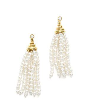 Bloomingdale's Cultured Freshwater Pearl Tassel & Diamond Earrings in 14K Yellow Gold - 100% Exclusi