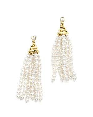 Bloomingdale's Cultured Freshwater Pearl Tassel & Diamond Earrings in 14K Yellow Gold - 100% Exclusive