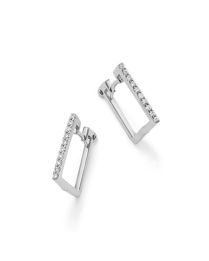 18k White Gold Diamond Square Hoop Earrings