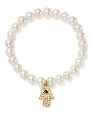 Bloomingdale's - 14K Yellow Gold Cultured Freshwater Pearl, Diamond & Sapphire Hamsa Hand Charm Stretch Bracelet - 100% Exclusive