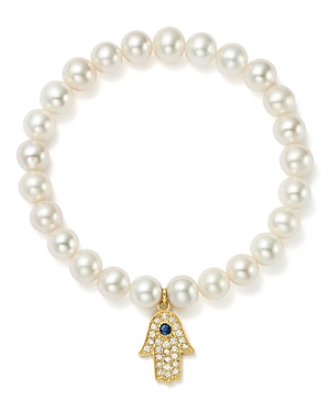 Bloomingdale's 14K Yellow Gold Cultured Freshwater Pearl, Diamond & Sapphire Hamsa Hand Charm Stretch Bracelet - 100% Exclusive