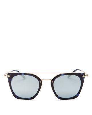 Women'S Dacette Brow Bar Mirrored Square Sunglasses, 50Mm, Cobalt/Blue Silver Mirror
