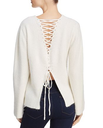 Olivaceous - Lace-Up Back Sweater