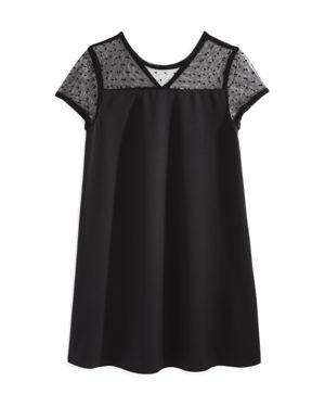 Aqua Girls' Dotted Mesh Yoke Shift Dress, Big Kid - 100% Exclusive