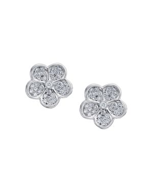 Gumuchian 18K White Gold Small Pave Diamond Floating G Boutique Daisy Stud Earrings