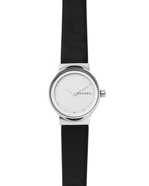Freja Crystal Accent Leather Strap Watch, 26Mm in Black