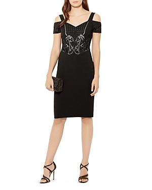 Karen Millen Embellished Bardot Cold-Shoulder Dress