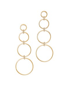MATEO - 14K Yellow Gold Diamond Connected Circle Drop Earrings