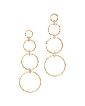 MATEO - 14K Yellow Gold Diamond Connected Circle Drop Earrings