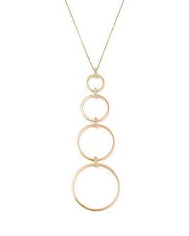 """MATEO - 14K Yellow Gold Graduated Diamond Circle Necklace, 18"""""""