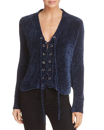 Lost and Wander - Maya Lace-Up Chenille Sweater