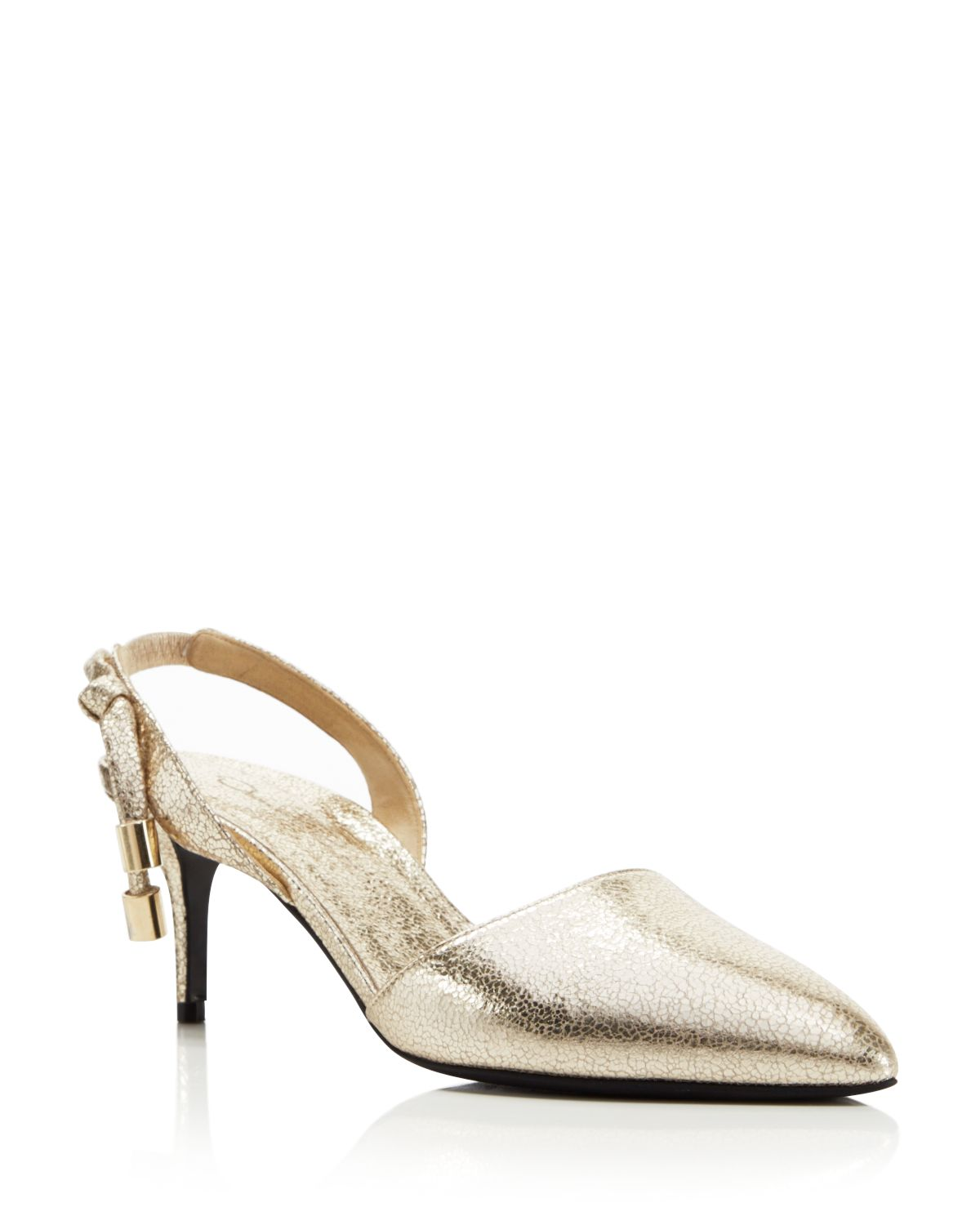 Oscar de la Renta Women's Cora Knot Metallic Leather Slingback Pumps