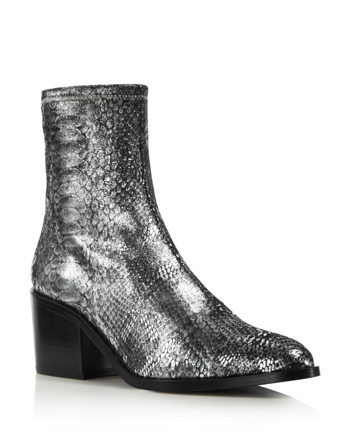 Opening Ceremony Women's Livv Metallic Snake-Embossed Leather Booties
