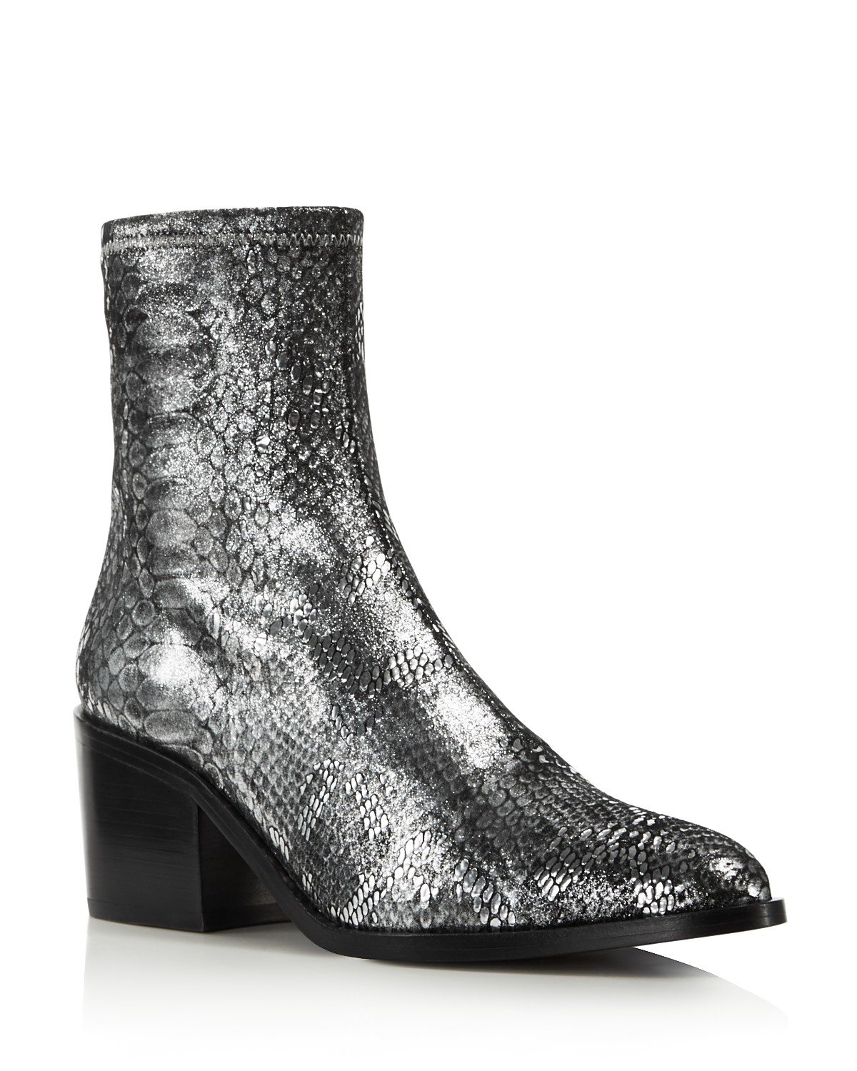 Opening Ceremony Women's Livv Metallic Snake-Embossed Leather Booties 47AXUBy