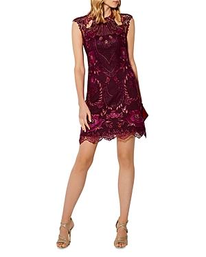 Karen Millen Paneled Lace Cutout Mini Dress
