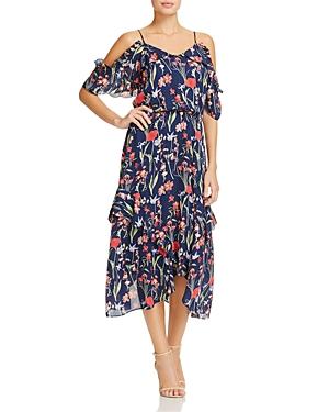 Parker Kam Floral-Print Ruffled Silk Midi Dress