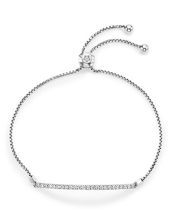 Bloomingdale's - Diamond Bar Bolo Bracelet in 14K White Gold, .55 ct. t.w. - 100% Exclusive