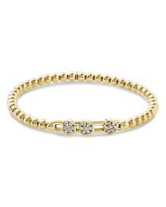 Hulchi Belluni - 18K Yellow Gold Tresore Diamond Triple Station Stretch Bracelet