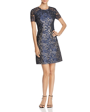 Elie Tahari Galina Floral Lace Metallic Jacquard Dress
