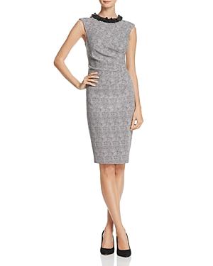 Adrianna Papell Embellished-Neck Dot Jacquard Dress