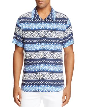 Surfsidesupply Geometric Stripe Short Sleeve Button-Down Camp Shirt