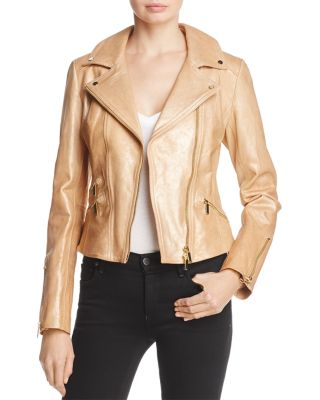 METALLIC GOLD LEATHER JACKET - 100% EXCLUSIVE