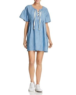 Joie Yenvy Lace-Up Chambray Dress