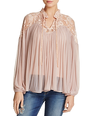 French Connection Lassia Tie-Neck Lace-Yoke Top