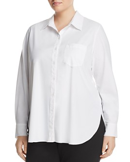 Lyssé Plus - Schiffer Pocketed Pleated-Back Button-Down Shirt