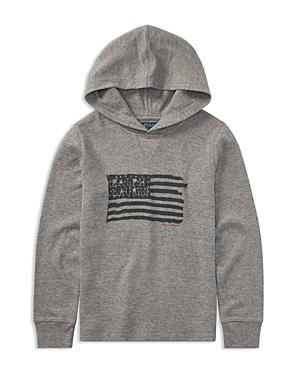 Ralph Lauren Childrenswear Boys' Hooded Waffle-Knit American Flag Shirt - Big Kid