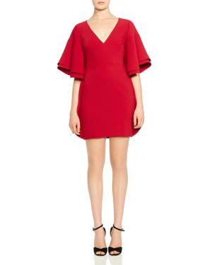 Halston Heritage Ruffled Tiered-Sleeve Mini Dress