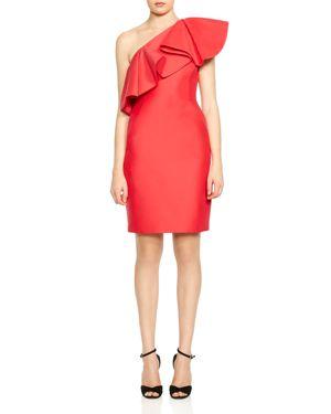 Halston Heritage Ruffled One-Shoulder Dress 2759920