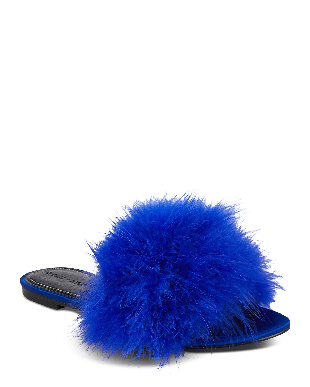 Kendall And Kylie Women's Chloe Feathered Slide Sandals 2LlsD6U