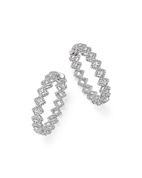 Roberto Coin - 18K White Gold New Barocco Diamond Hoop Earrings
