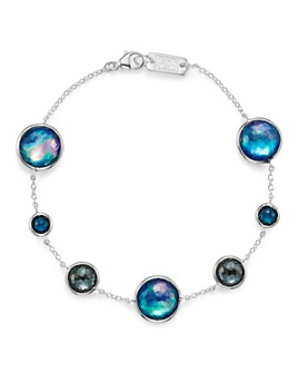IPPOLITA - Sterling Silver Lollipop Lapis Triplet, London Blue Topaz & Hematite Bracelet in Eclipse