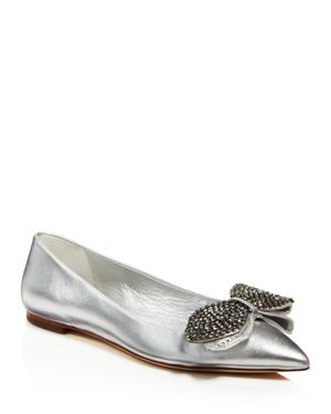 Tory Burch Women's Rosalind Embellished Metallic Leather Flats