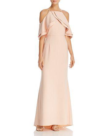 Eliza J - Double-Ruffle Cold-Shoulder Gown