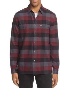 Lacoste Plaid Long Sleeve Button-Down Shirt