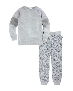 Splendid Boys' Paneled Sweatshirt & Bear Print Joggers Set - Little Kid