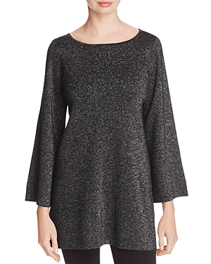 Eileen Fisher Metallic Bell Sleeve Tunic Sweater - 100% Exclusive